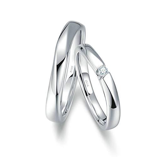 Bishilin Anillos Su y Ella Alianza de Boda 18K Oro Blanco Mujer Talla 11 & Hombre Talla 26 Arco Pulido Anillos de Pareja Blanco Diamante Anillo de Alianzas de Boda de Eternidad Oro Blanco