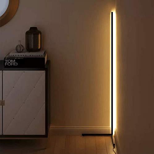 i-Paint - Moderna lámpara angular de pie con luz LED de 20 W, regulable, RGB Colorful, mandos a distancia, control remoto, lámpara para dormitorio, salón, habitación infantil, minimalista (blanco)