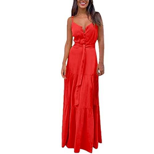 Qigxihkh Mode Damen Sommer Boho ärmelloses Riemchen V-Ausschnitt Bandage Party Strandkleid