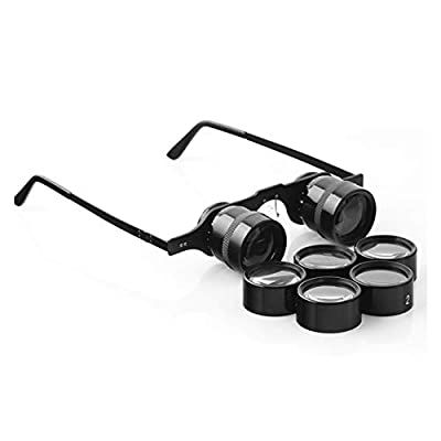 Clear4World- 2.5X Glasses-Type Near and Far Monocular Vision Aids Wearable Telescope Fishing Mirror Low Light Night Vision Set