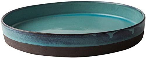 CQH Bols de Service Bowl Plate Ménages Vert Assiette Ronde en Céramique Assiette De Fruits Assiette De Thé Vaisselle en Céramique À Thé 1600ml pour la Restauration Et la Maison