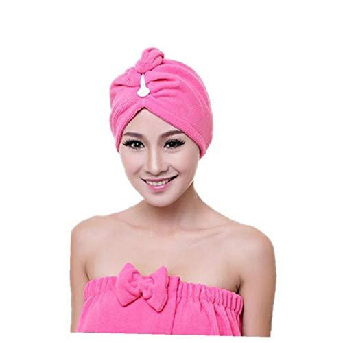 IUwnHceE Mikrofaser Hair Towel Wrap Schnell Magic Hair Dry Hat Wrap Mit Knopf Für Kinder Und Erwachsene Rosy