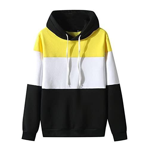 Luckycat Jersey con Costuras de Tres Colores para Hombre, Sudadera con Capucha de Manga Larga con Cordón de Ocio de Otoño E Invierno Sudadera Deportiva Delgada de Talla Grande