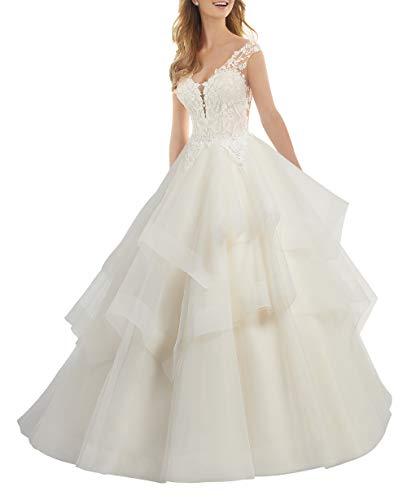Brautkleider Spitze Tüll Hochzeitskleid V Ausschnitt A-Linie Abendkleid Rüschen Ballkleid mit Schleppe Elfenbein 56