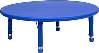 Flash Furniture 45'' Round Blue Plastic Height Adjustable Activity Table