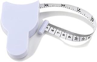 捲尺 白色 雙面刻度 150厘米/60英寸 自動捲取式 帶捲繞扣 測量工具 胸圍 杯測量尺腰圍 尺寸 卷縫縫製 旋轉式捲尺 自動捲尺 手工用 縫紉用 柔軟 小型 輕便