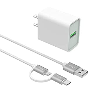 Superer 18W Quick Wall Fast Charger Fit for Razer Phone 2 BlackBerry KEY2/KEY2 LE Power Cord Adapter Android Phone White 5FT Cable