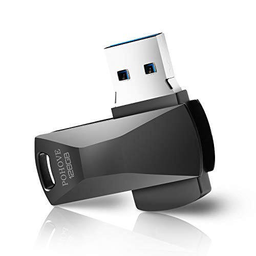 Cle USB 128 Go, CLé USB 3.0 Clef USB 128 GB Imperméable USB Métal Pen Drive 128 GB Portable Clef USB 128go pour Ordinateur Portable/Pc/Voiture Etc (Noir)