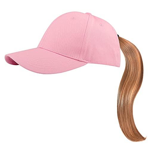 KELOYI Gorra Béisbol Mujer Gorra Béisbol Hombre Ajustable Gorra Cola De Caballo para Retro Rosa