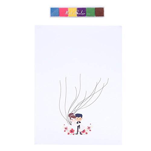 Árbol de Huellas Dactilares Boda Libro de visitas Cartel Firma de invitado Libro de Pintura Árbol de Boda Decoración de Fiesta de cumpleaños de Boda(si)