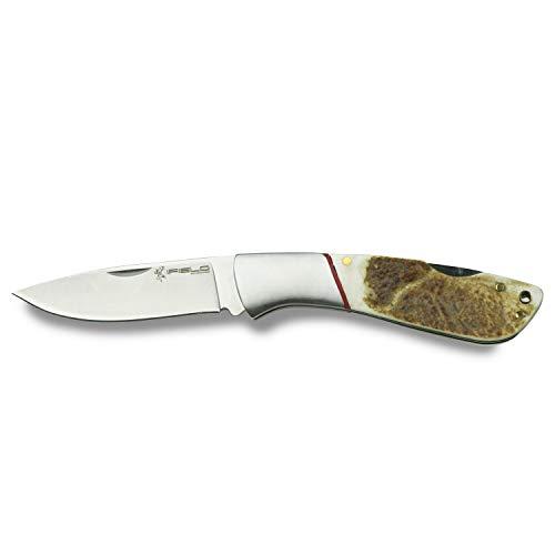 iFIELD Camper klappmesser EL29043 Jagdmesser, Hirschgeweihstiel, 7,8 cm Klinge aus Edelstahl, Campinggerät zum Angeln, Jagen, SportAktivität
