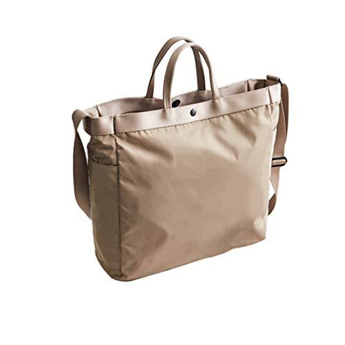 Yijinstyle Solid Color Style Multifunctional Large-capacity Handbag Shoulder Bag (Khaki)