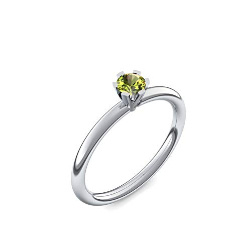 Weißgold Ring Peridot 585 + inkl. Luxusetui + Peridot Ring Weißgold Peridotring Weißgold (Weißgold 585) - Celebrity Amoonic Schmuck Größe 54 (17.2) UW01...