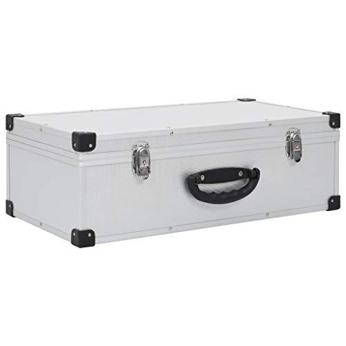 vidaXL Cd-Koffer Aluminium ABS Zilverkleurig Opbergdoos Ordener Koffers Houder
