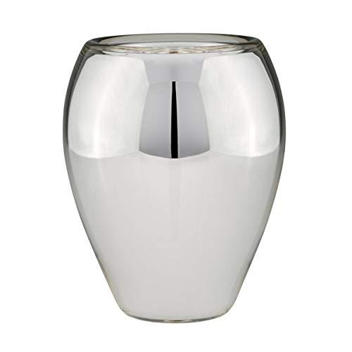 Grote ovaal zilverglas boerenzilver decoratief glas bloemenvaas Ø 25 cm - fijnste handwerk - ook als pot te gebruiken