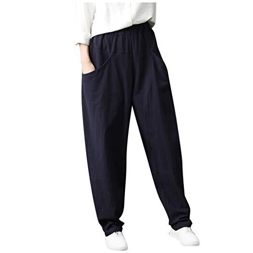 PAOLIAN_Pantalones Para Mujer Pantalones para Mujer Anchos Primavera Tallas Grandes Harem Verano Cintura Alta Elastica Pantalones Mujer Vestir Elegantes Casual Algodón y Lino
