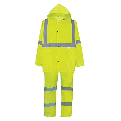Global Glove - GLO-8000-XL GLO-8000 - FrogWear HV - 3-Piece High-Visibility Rain Suit - X-Large