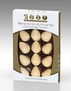 1880 - Almendras Artesanas Rellenas de Turrón de Crema a la Piedra cubierta con una fina capa de Oblea | Textura Crujiente | Bocados de Calidad Suprema | 12 unidades 165G