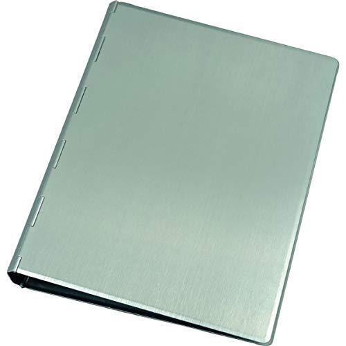 Alassio 40111 - Carpeta de anillas de aluminio, cuaderno, color plateado, carpeta de aprox. 24,5 × 18,5 × 2,5 cm, carpeta de anillas de metal A5, carpeta de aluminio para bloc A5