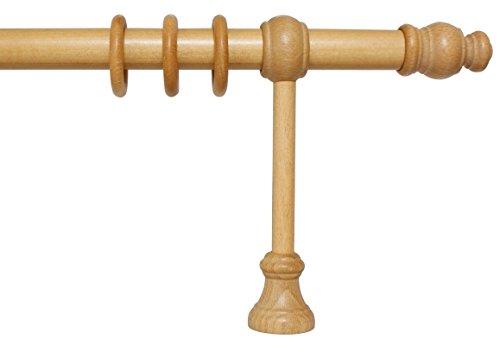 iso-design Gardinenstange aus Holz mit 28 mm Durchmesser in Eiche hell, viele Größen, 160 cm