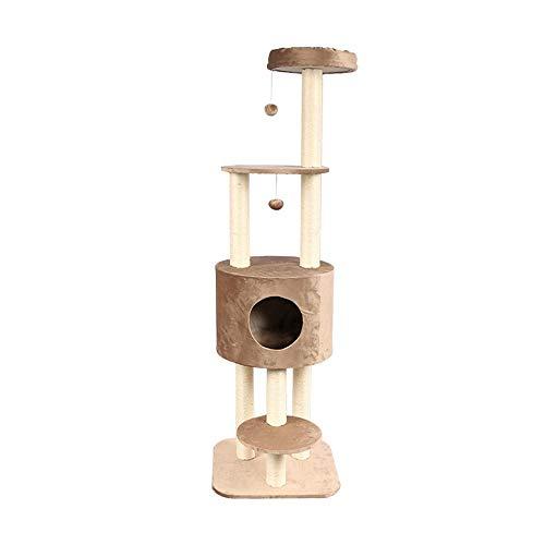 Katzen-Baum Kratzbaum Cat Klettergerüst Katzentoilette Katze Scratcher Katzentoilette Katzenspielzeug Verkratzen Activity Center Kratz mit einer Hängematte Katzen Plüsch Condo Nest Basket Perch Platfo