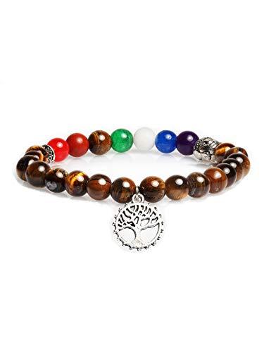 AVANT-GARDE PARIS Pulsera de piedras auténticas naturales de grado A+ de 7 chakras para yoga, meditación, equilibrio, curación de reiki, Piedra, Ojo de tigre,