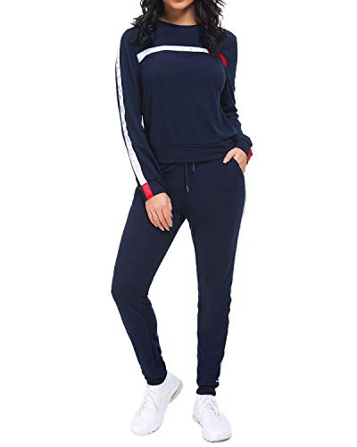 Unifizz Frauen 2 Stück Outfits Streifen Pullover Hoodies Flare Long Pants Trainingsanzug Jumpsuit Set, 512_blau, S