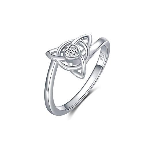YOSOPRETTY 925 Sterling Silver Women's Celtic Knot Rings CZ Promise Rings for Her Women Girlfriend (6)