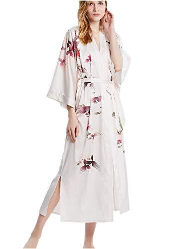 prettystern Damen Boden-lang 100% Seide Kimono Morgenmantel Robe Silber Fische Lotus Hellrosa L12