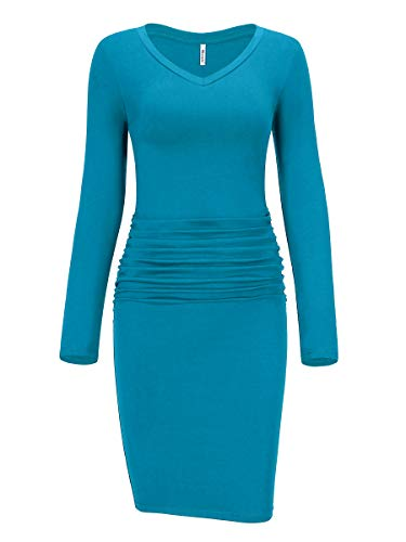Missufe Women's Long Sleeve Knee Length Casual Fitted Basic Ruched Bodycon Dress...