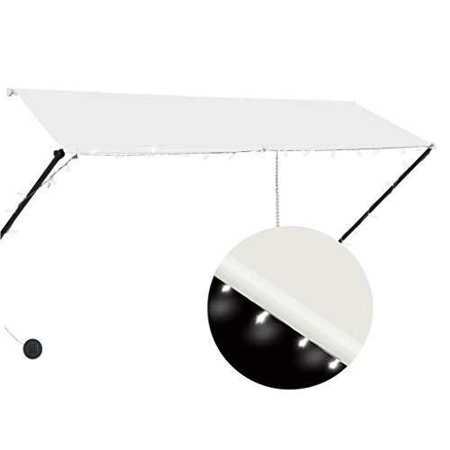 vidaXL Markise Einziehbar mit LED Handbetrieben Balkonmarkise Sonnenschutz Windschutz Beschattung Terrasse Garten Außen Rollo 300x150cm Creme