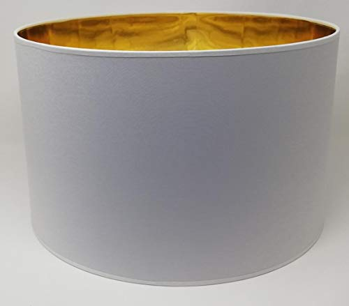 Lampenschirm Zylinder Form Weiß Stoff Gold Futter Handarbeit Verschiedene Größen Deckenanhänger - Tisch (25 cm Durchmesser 20 cm Höhe)
