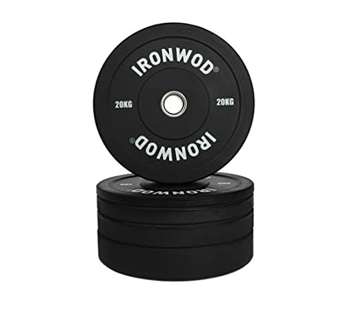 EXTREME FITNESS Ironwod Black Olympic Rubber Bumper Weight Plates Barbell Weights Set for Strength Training and Weightlifting 2' (20kg Pair)