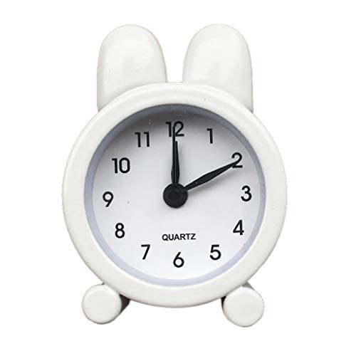 Eddizu Travel Alarm Clock Battery Operated, Cute Rabbit Ear Shape Alarm Clocks Bedside, Silent with No Ticking Analog Quartz, Beep Sounds, Gentle Wake, Ascending Alarm, Easy Set (White)
