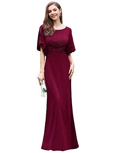 Ever-Pretty Women's A-line Short Hollow Sleeve Plus Size Formal Wedding Guest Dress Burgundy US22