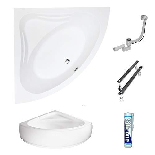 ECOLAM symmetrische Badewanne Eckwanne Mia 140x140 cm Modern Design Acryl weiß + Schürze Ablaufgarnitur Ab- und Überlauf Automatik Füße Silikon Komplett-Set