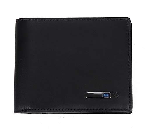 Cartera de cuero genuino para hombre inteligente antipérdida de la cartera de tarjetas paquete monedero con alarma Bluetooth registro de posición