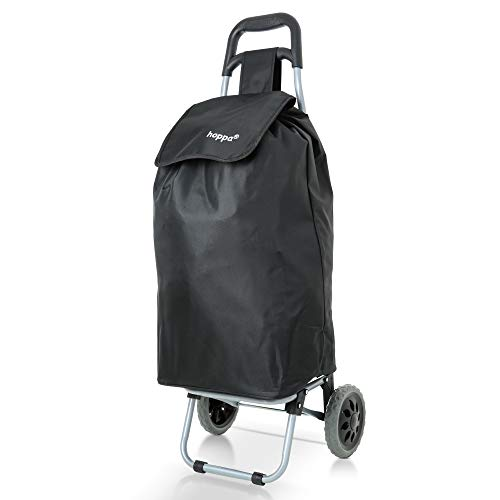 Hoppa 47L Lightweight Shopping Trolley, Hard Wearing & Foldaway for Easy Storage with 3 Years Guarantee (Black 40)