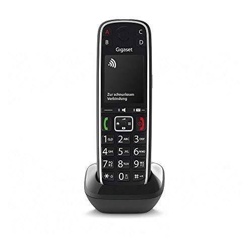 Gigaset E720HX elegantes IP-/Seniorentelefon zum Anschluss an Basisstationen oder Router (DECT Telefon mit Rufnummeransage, Bluetooth, SOS Funktion, einfacher Bedienung) -Made in Germany- schwarz