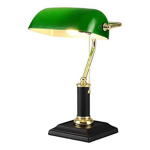Lámpara de escritorio de lectura Lámpara Banker, Lámpara de mesa Pantalla ajustable de color verde esmeralda, Lámpara de mesa nostálgica de cable retro, Lámpara de piano de metal, Lámpara de mesa de b