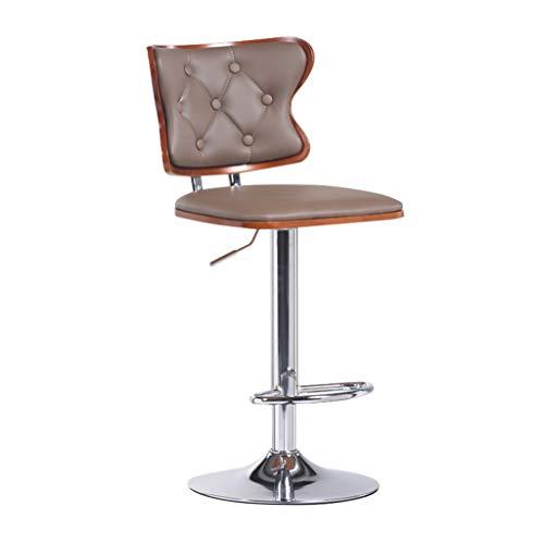 DHMHJH Chaise de Bar en Cuir Artificiel Apparence Hauteur réglable 360 degrés Rotation de gaz Ascenseur en Alliage de Chrome Base Repose-Pied Bar de Petit déjeuner (Couleur : Bar Stool×1)