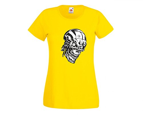 Camiseta con diseño de cabeza de robot, calavera con mirada espeluznante, esqueleto, cráneo, robot, ordenador, gótico, moto, calavera, evo, old, para hombre, mujer, niños, 104 – 5 XL amarillo Talla del hombre: 4X-Large