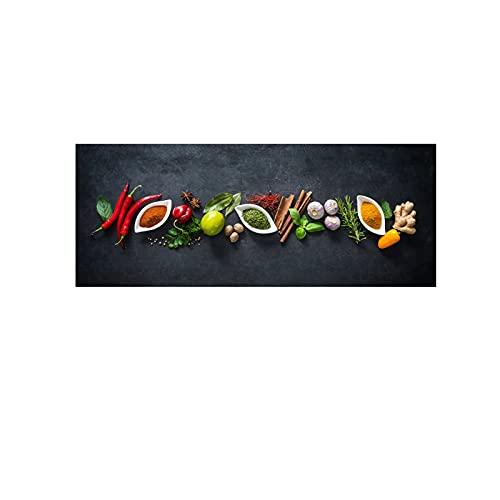 Auoeer Materiales comestibles de Cocina Moderna Impresiones en Lienzo Carteles e Impresiones Cuadro de Arte de Pared Sala de Estar nórdica Decoración del hogar 19.6'x59.1 (50x150cm) Sin Marco