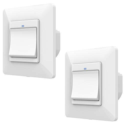 Orbecco WiFi Smart Lichtschalter, 1 Gang APP- und Sprachsteuerung Wandschalter Fernbedienung Tastschalter, Kompatibel mit Alexa Echo Google Home, ohne Hub Benötig -2Pcs