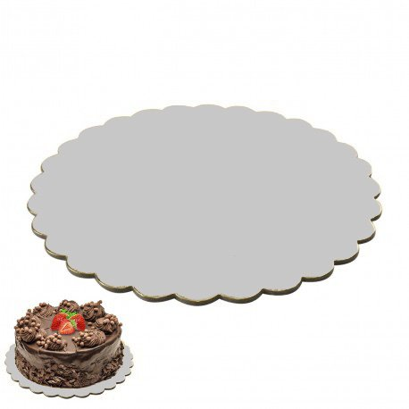 10 Stk. Cake Board Cake Drum gewellt beschichtet Kuchenplatte Tortenplatte Cakeboard Tortenunterlage Ø 30 cm Ausstecher Fondant SILBER
