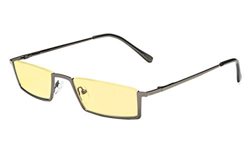 Eyekepper Blue Light Blocking Reading Glasses Half-Rim Computer Readers Eyeglasses-Yellow Tinted Lens Reading Glasses (Gunmetal, +1.50)