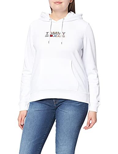 Tommy Jeans TJW Slim Metal Corp Logo Hoodie Sudadera con Capucha, Blanco, S para Mujer