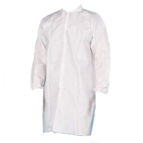 PSBM White Disposable Lab Coats Adult, Size 3XL, 25 Pack - Polypropylene, Elastic Wrist Cuffs, Front Snap Fasteners for Science Labs, Classroom, Medical, Biology, Dental