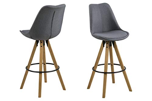 Tima - Set of 2 bar stools, fabric dark grey, center legs rubber wood, oak stained, oil treated