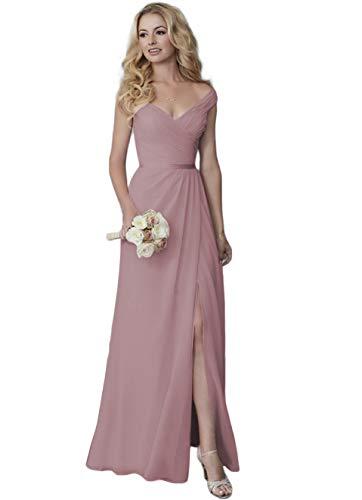 Lover Kiss V-Neck Bridesmaid Dresses for Women Off Shoulder Long Chiffon Formal Evening Dress with Slit Dusty Mauve 2
